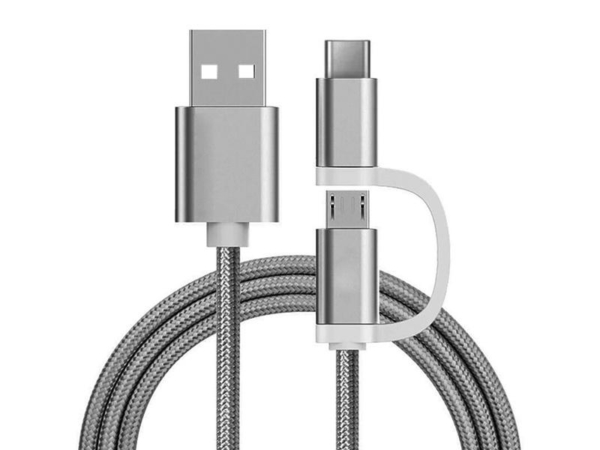 2 in 1 Ladekabel (USB Micro & Type-C) – 1,0 Meter (Silber-Nylon)